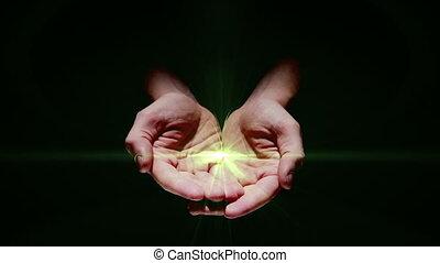 Hand presenting digital green plant