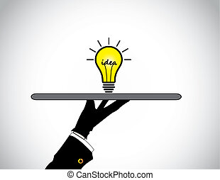 hand presenting sharing of bright yellow idea solution lightbulb. concept design illustration of a professional human hand silhouette offering the best bright glowing light bulb with idea text