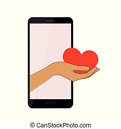 hand presents red heart from a smartphone