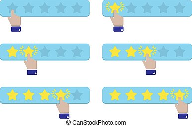 Hand press a star and gives a rating. Vector illustration
