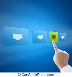 Hand press download button on blue background