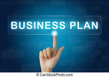 hand press on business plan button on touch screen