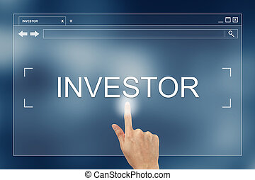 hand press on investor button on website