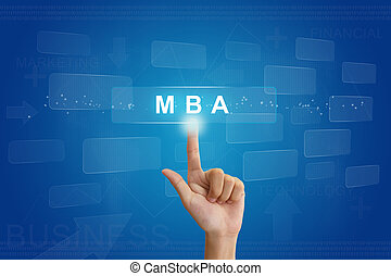 hand press on MBA or Master of Business Administration button