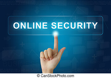 hand press on online security button on touch screen