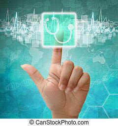 Hand press on Stethoscope symbol , medical background
