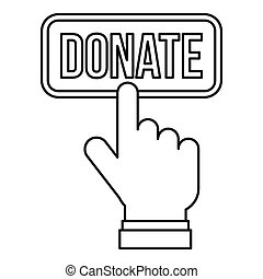 Hand presses button to donate icon, outline style