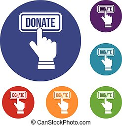 Hand presses button to donate icons set