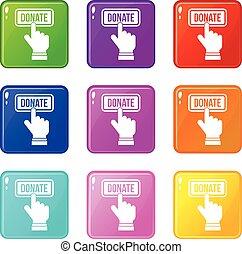 Hand presses button to donate set 9