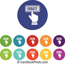 Hand presses button to donate set icons