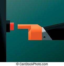 Hand pressing a button