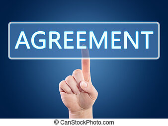 Agreement - Hand pressing Agreement button on interface with...