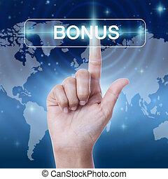 hand pressing bonus sign button. business concept