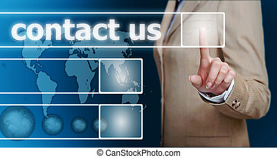 hand pressing contact us button - businesswoman hand...