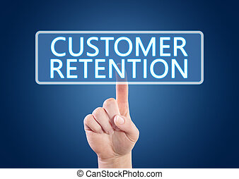Hand pressing Customer Retention button on interface with blue background.