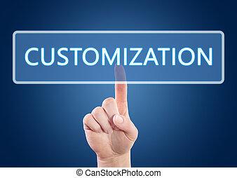 Customization - Hand pressing Customization button on...
