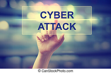 Hand pressing Cyber Attack on blurred cityscape background