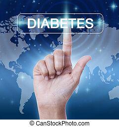 hand pressing diabetes sign button. business concept