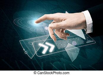 Hand pressing digital button