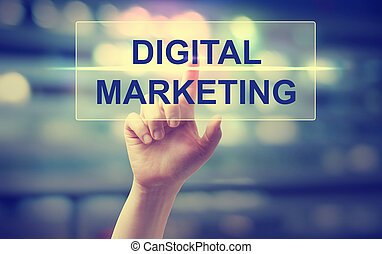 Hand pressing Digital Marketing on blurred cityscape background