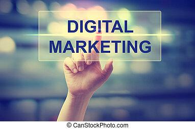 Hand pressing Digital Marketing on blurred cityscape...