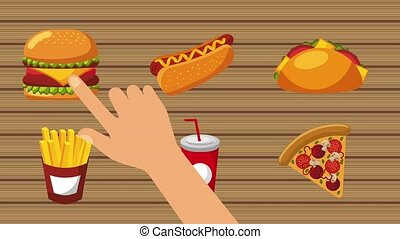 order food online - hand pressing hot dog burger taco french...
