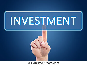 Investment - Hand pressing Investment button on interface...