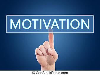 Motivation - Hand pressing Motivation button on interface ...