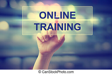 Hand pressing Online Training on blurred cityscape background