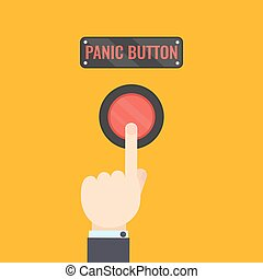 Hand pressing panic button
