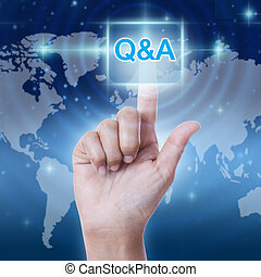 hand pressing Q & A sign button on virtual screen
