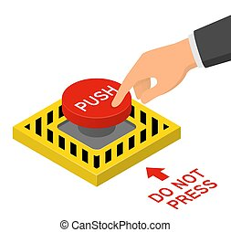 Hand pressing red emergency button. Isometric vector...