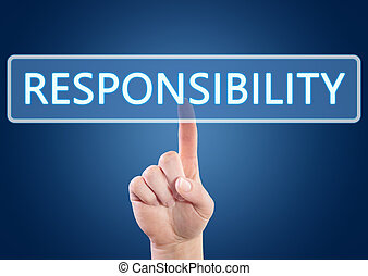 Hand pressing Responsibility button on interface with blue background.