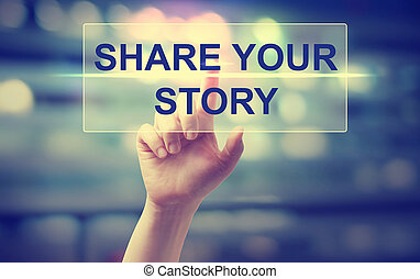 Hand pressing Share Your Story