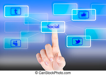 """Hand pressing """"Social"""" button with technology background"""