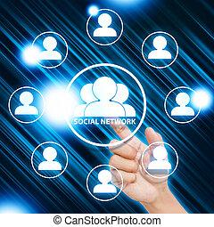 hand pressing Social network icon