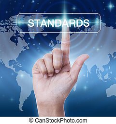 hand pressing standards sign on virtual screen. business...