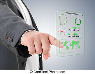 Hand  pressing the access card