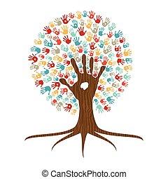 Hand print art tree illustration for community help