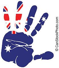 hand print flag of australia