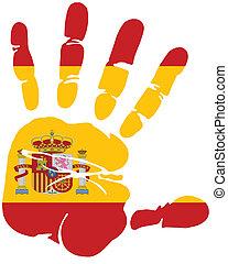 hand print of spain flag