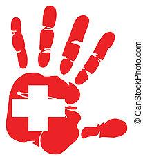 Hand print of Swiss flag colors