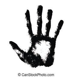 Hand print on white
