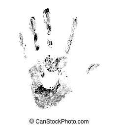 Hand print on white background.