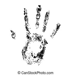 Hand print on white background.