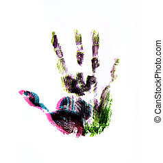 hand print overlap color