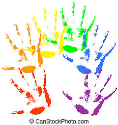 Hand print  rainbow colors, skin texture pattern, vector illustration.