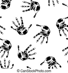 Hand print,  seamless  wallpaper, vector illustration.