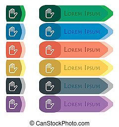 Hand print, Stop icon sign. Set of colorful, bright long buttons with additional small modules. Flat design