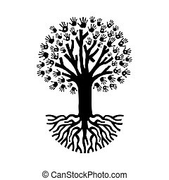 Diverse hand prints isolated tree over white with big roots. Community help and teamwork concept illustration. EPS10 vector.